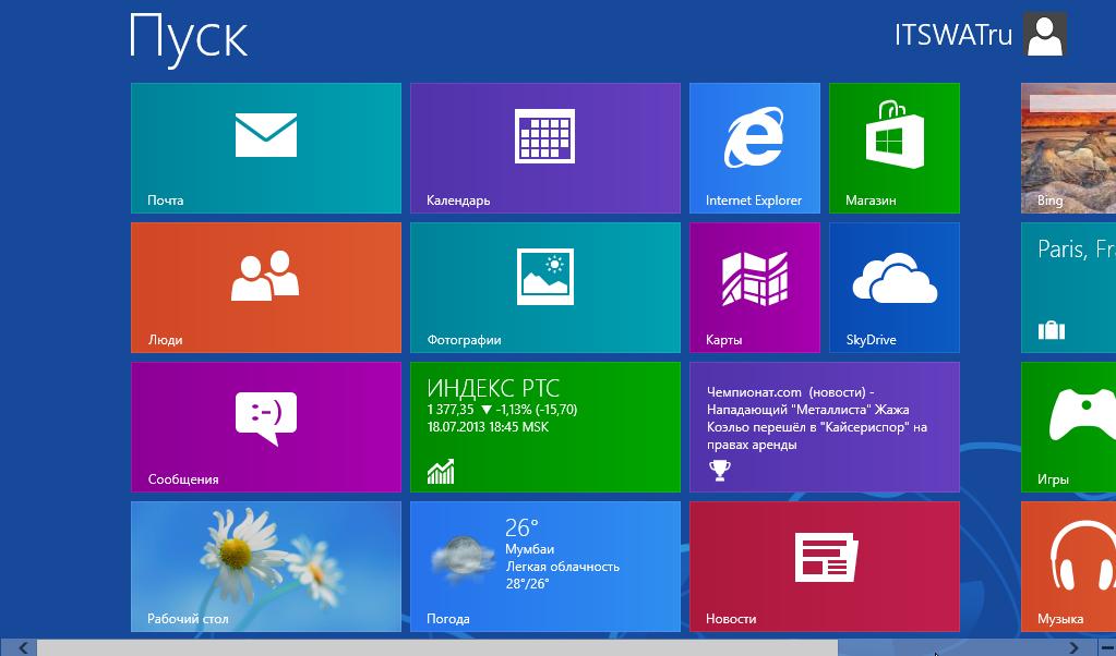 Пуск в Windows 8