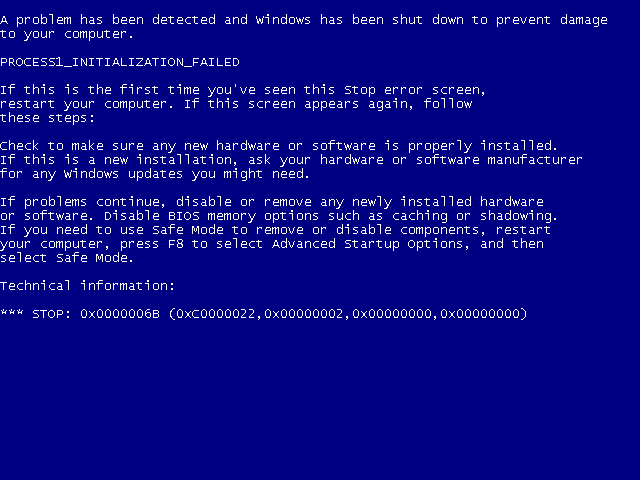 Синий экран Windows (BSOD)