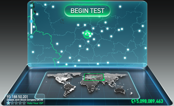 Speedtest net begin test
